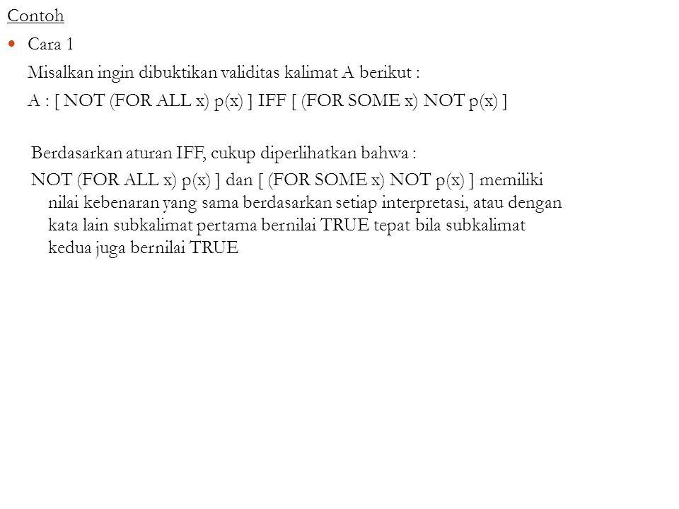 Contoh Cara 1. Misalkan ingin dibuktikan validitas kalimat A berikut : A : [ NOT (FOR ALL x) p(x) ] IFF [ (FOR SOME x) NOT p(x) ]